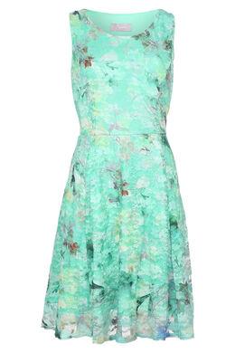 Robe en dentelle imprimé de fleurs, Turquoise