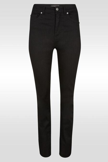 Rechte push-upbroek met hoge taille  - Zwart