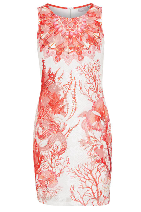 Robe imprimé mandala - Corail
