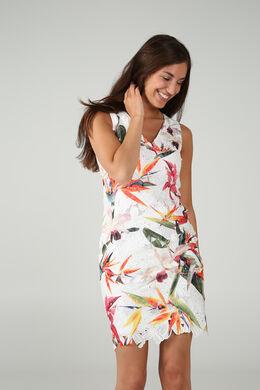 Robe dentelle imprimé de fleurs exotiques, multicolor