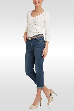 Pantacourt en jeans avec ceinture, Denim
