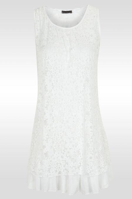 Robe en dentelle dévorée + paillette - Blanc