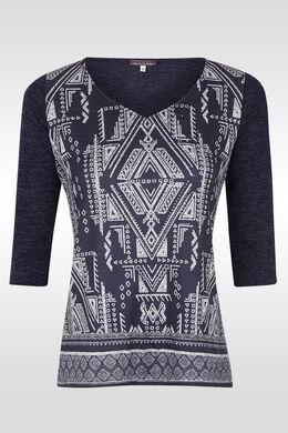 T-shirt twee stoffen etnische print,  | Cassis