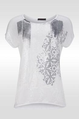 T-shirt manches T avec sequins et print, Blanc