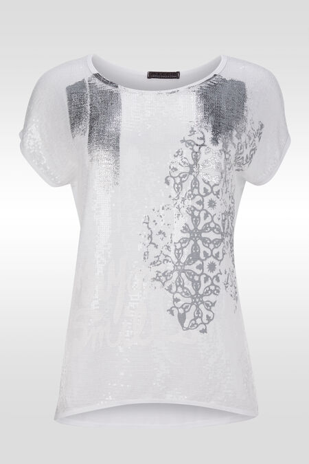T-shirt manches T avec sequins et print - Blanc