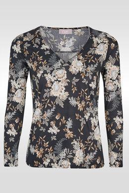 T-shirt met bloemenprint en V-hals, Zwart