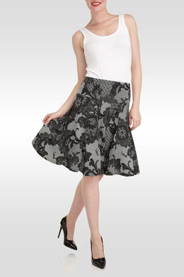 Uitlopende jurk met kantprint,  | Cassis