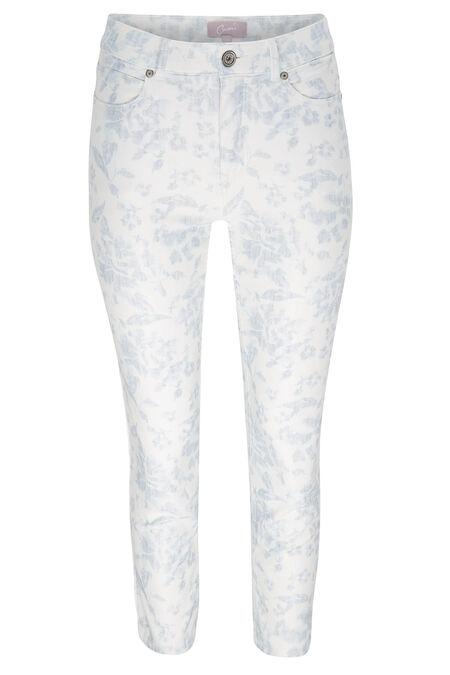 7/8-broek met bloemenprint - Blauw