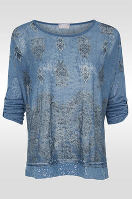 T-shirt imprimé et sequins bas, Bleu Delphes
