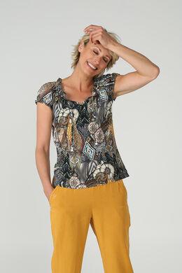 T-shirt bi-matières ethnique, Kaki