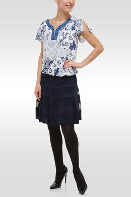 T-shirt bloementricot jeanslook, Blauw