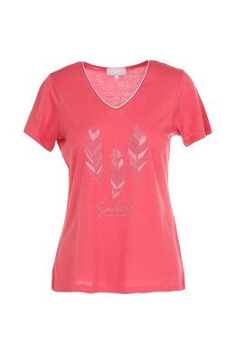 T-shirt met print van 3 pluimen, Framboos
