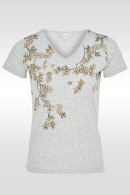 T-shirt imprimé fleurs de cerisier, Gris Chine
