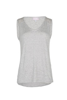Top in lurex en studs aan de schouders, Gris Chine