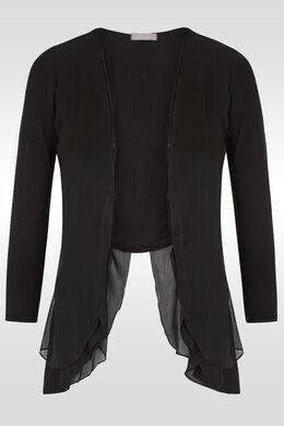 Bolero in twee stoffen, asymmetrisch, Zwart