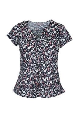 T-shirt met bloemenprint en gomeffect, Marineblauw