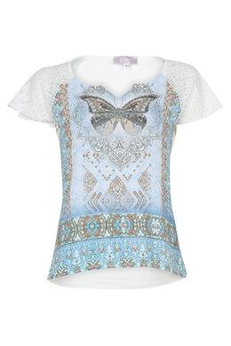 T-shirt met vlinder en strassteentjes, Lichtblauw