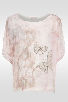 Ponchobloes met vlinderprint, Blush