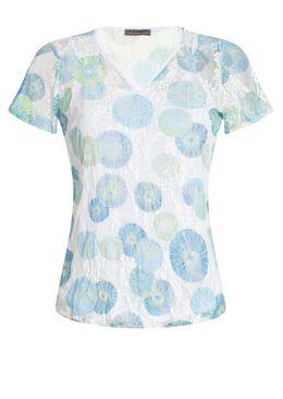 T-shirt in bedrukte kant + top,  | Cassis