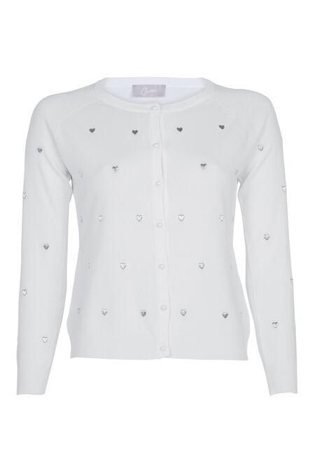 Cardigan brodé de cœurs - Blanc