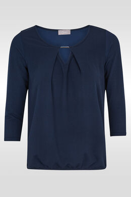 T-shirt 3/4-mouwen, druppelhals, juweel, Marineblauw