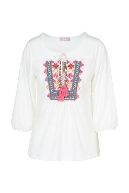 T-shirt met zomerfrontje - Ecru