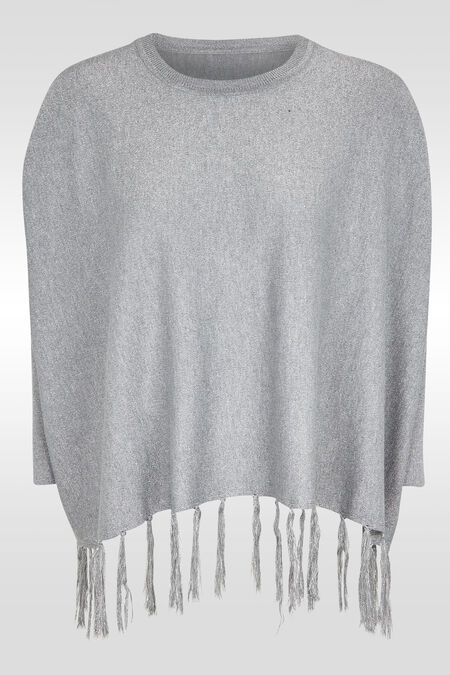 Ruime trui met franjes onderaan - Parelgrijs
