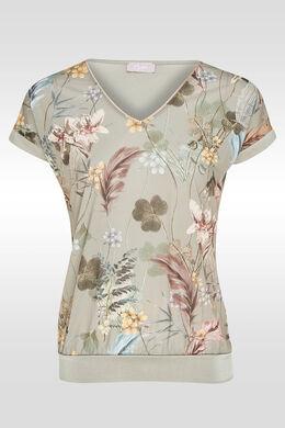 T-shirt bi-matières imprimé, Kaki
