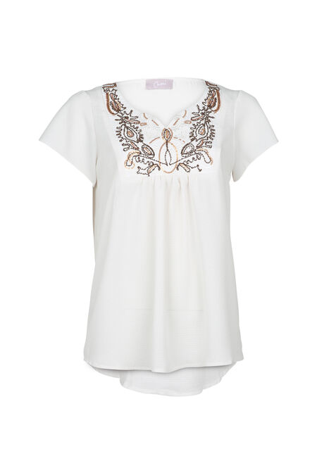 Effen bloes met vlindermouwen - Ecru