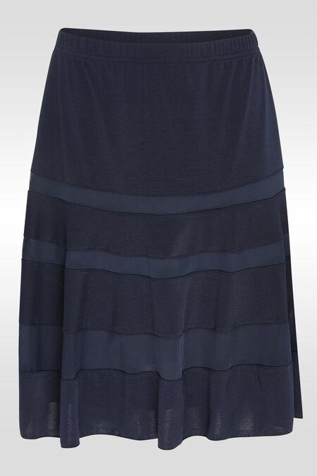 Gevoerde rok met transparante stroken - Marineblauw