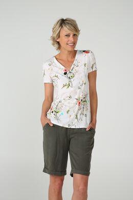 T-shirt encolure zippé avec anneau, Ecru