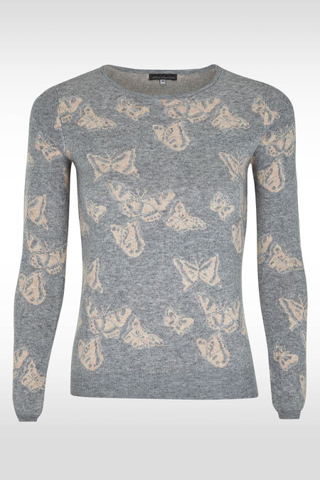 Pull papillons et fil lurex - Gris perle