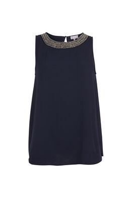 Soepele bloes met kralenhals, Marineblauw