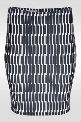 Rechte rok met grafische print, Blauw/Ecru