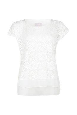 T-shirt met geborduurde bloemen, Ecru
