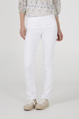 Pantalon push up taille haute slim, Blanc