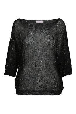 Trui in fijne tricot met vleermuismouwen, Zwart