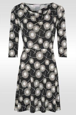Robe imprimée col bénitier maille froide, Noir/Ecru
