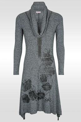 Lange jurk in warm tricot,  | Cassis