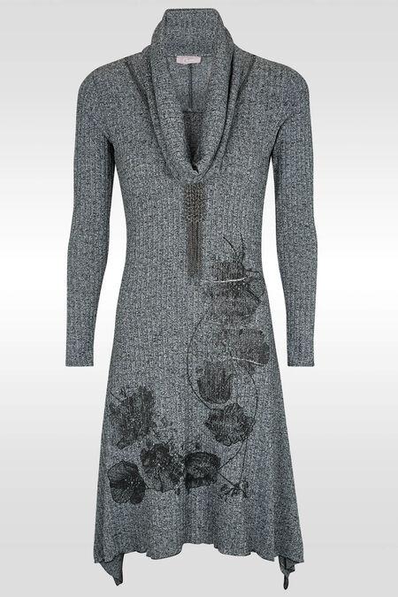 Robe longue maille chaude - Gris-moyen