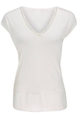 T-shirt uni détail lurex, Ecru