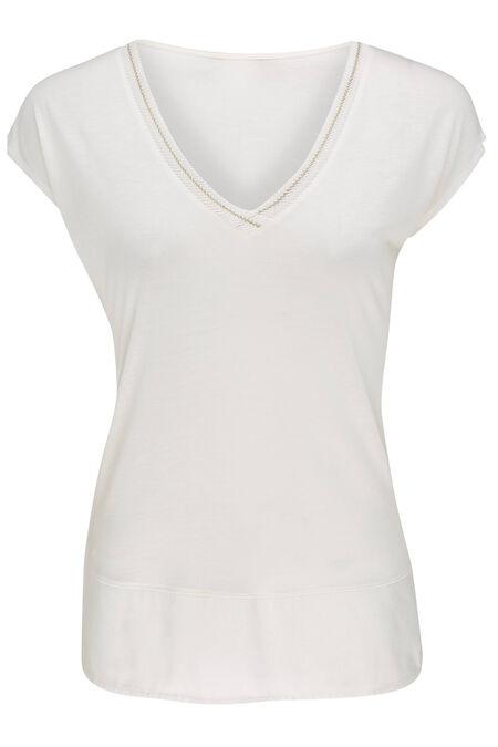 Effen T-shirt met lurexdetail - Ecru