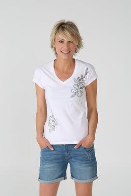 T-shirt coton broderies de fleurs perlées, Blanc
