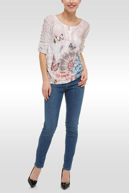 T-shirt in kant met vlinderprint, Multicolor