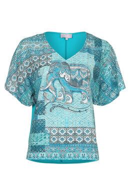 T-shirt ample imprimé avec clous, Turquoise
