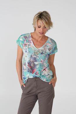 T-shirt imprimé papillons, Turquoise