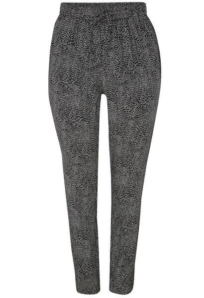 Soepel vallende, bedrukte broek - Zwart