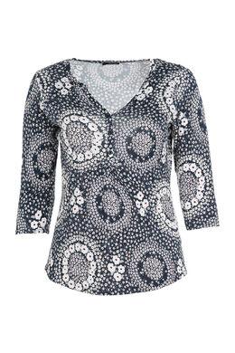 T-shirt 3/4 bedrukt met gomeffect, Marineblauw