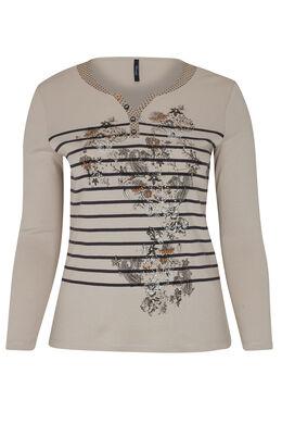 T-shirt print lignes et fleurs, Beige