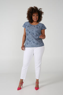 Katoenen blouse met strik op de rug, Indigo
